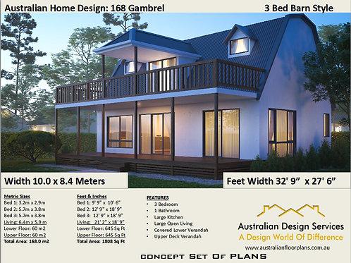 3 Bedroom + Barn Style House Plan:168 Gambrel | Concept Plans