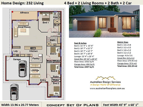 4 bedroom modern house plans + Garage: 232.19 m2  | Preliminary House Plans