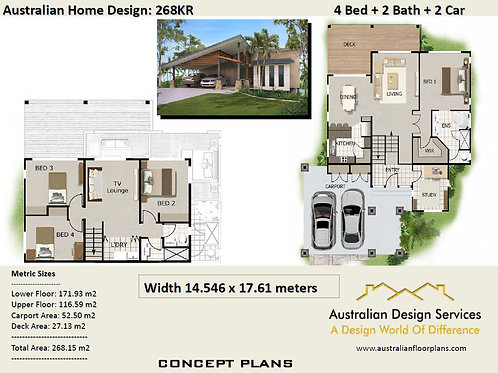 sloping block house designs 4 Bed: 268.0 m2 | 268 KR  House plans