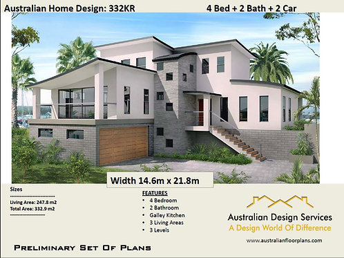 two storey residential house floor plan with elevation:  264.06 m2 | 332KR