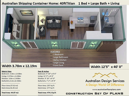 40 Foot Shipping Container Home Plan:Titian 40ft | Construction House Plan Set