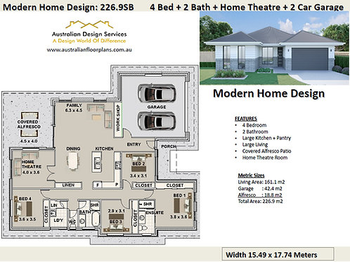 Modern Home Design: 226.9SB: 4 Bed + 2 Bath
