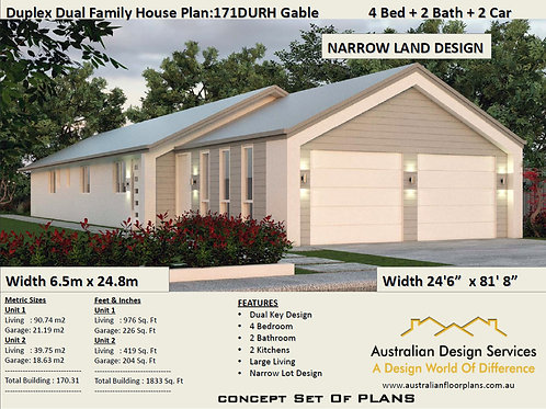 Duplex Design: 171 DU Dual Key House Plan
