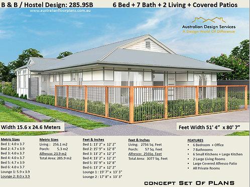 Modern Hostel / B &  B Home Design 6 bedroom 7 Bath : 285.9SB