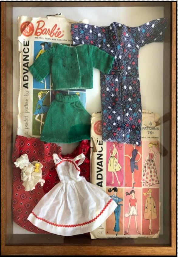 Barbie Doll clothes in a shadow box