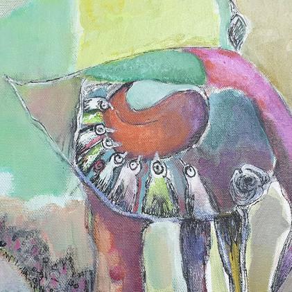 Détail 3 de la peinture Carnaval des oiseaux