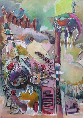 """Abstract painting with orange-pink colors, on the theme of birds, by the painter Florence Laurent entitled """"Carnival of birds""""."""