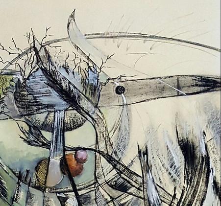 Détail 1 Peinture oiseau imaginaire