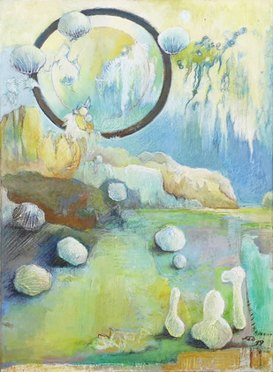 Peinture onirique bleuté et jaune Rêve infini
