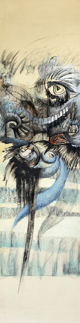 """Dreamlike painting, black and blue colors, large format, on the theme of birds, by the painter Florence Laurent entitled """"Ode to birds 1""""."""