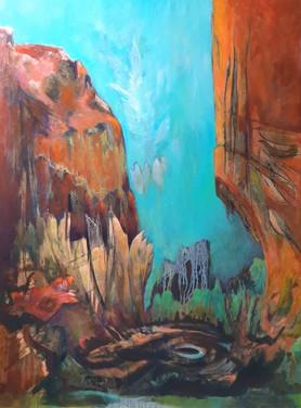 cyan blue sky painting
