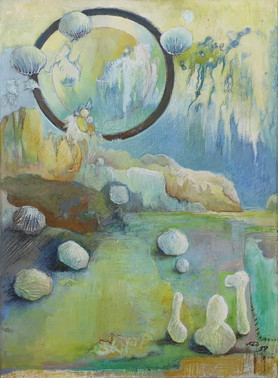 """Dreamlike abstract painting, with blue and yellow pastel colors, medium size, on the theme of dreams, by the painter Florence Laurent entitled """"Rêve infini"""