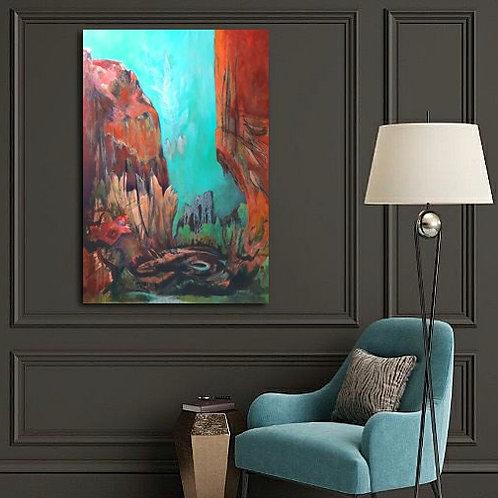 Cette toile colorée illumine le décor de ce salon.