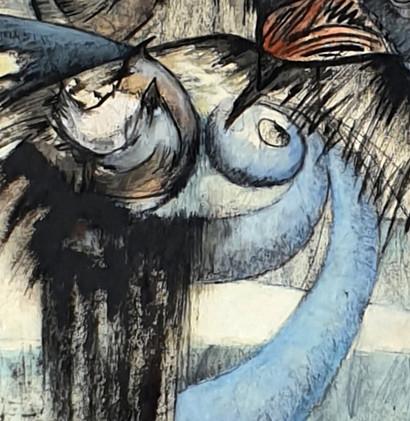Détail 2 de la peinture Ode aux oiseaux 1
