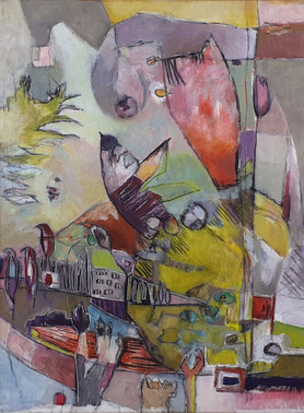 """Abstract painting, with orange-pink colors, medium size, on the theme of birds, by painter Florence Laurent, entitled """"Fly away!"""""""