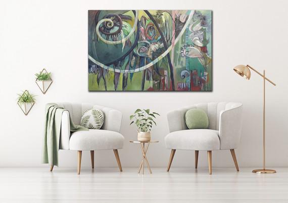 Peinture de grand format Verte Mise en situation