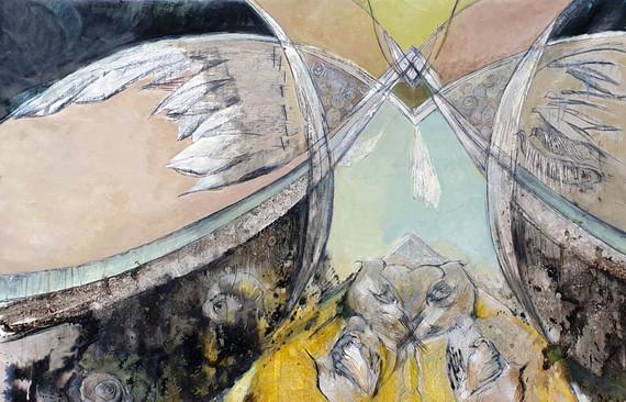 Peinture symbolique Ailes miroir