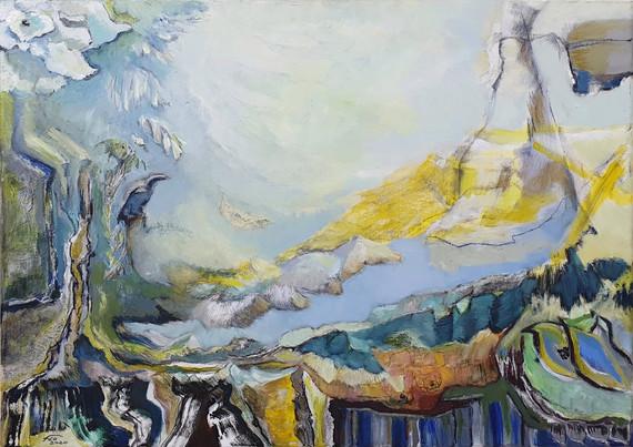 Peinture à l'huile abstraite de paysage bleu et jaune