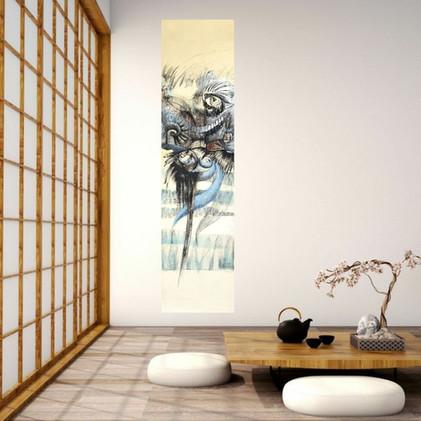 Peinture symbolique semi abstraite sur les oiseaux