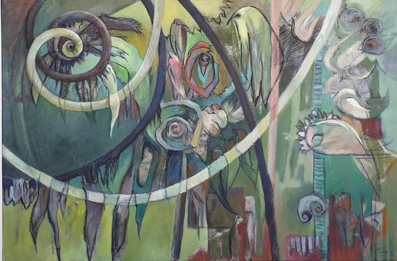 Peinture abstraite Symbole de la double spirale