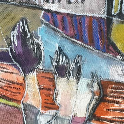 Détail 1 Peinture de mains symboliques