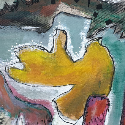 Détail 2 de la peinture Carnaval des oiseaux