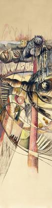 Peinture de grand format vertical Ode aux oiseaux 3