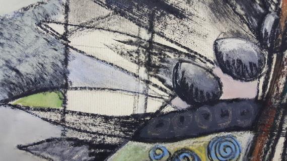 Détail 3 de la peinture abstraite Ode aux oiseaux 2
