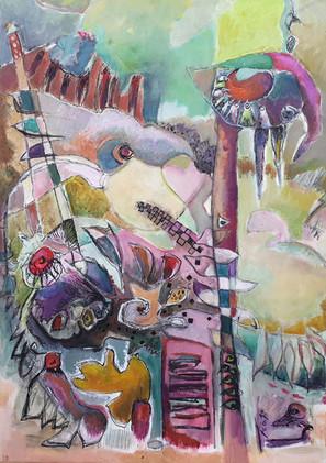 Peinture abstraite Carnaval des oiseaux