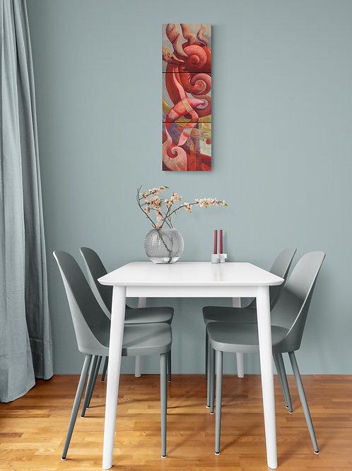 Une décoration chaleureuse et poétique avec cette peinture de Florence Laurent.
