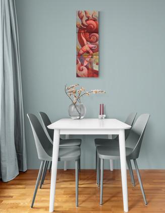 """Peinture acrylique sur toile """"continuum"""" mise en situation"""