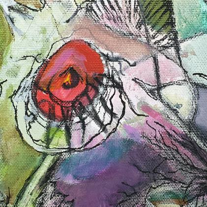 Détail 1 spirale et oiseau rose et violet
