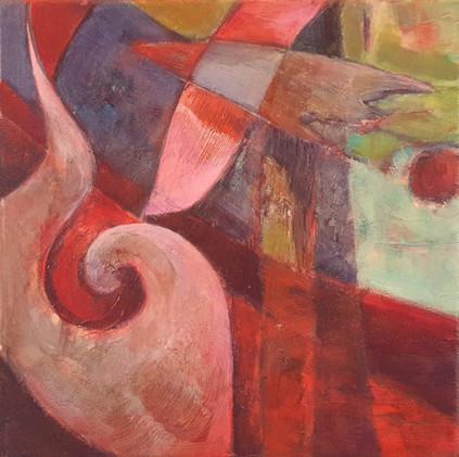 Peinture expressioniste oiseau rose