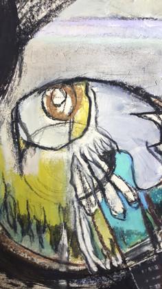 Détails 1 de la peinture Ode aux oiseaux 2