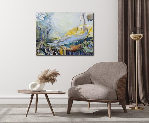 Peinture abstrait dans intérieur contemporain chic