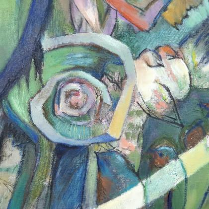 Détail 3 peinture oiseau et spirale
