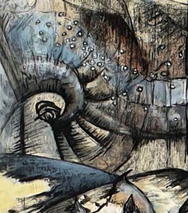 Détail 3 de la peintrue Ode aux oiseaux 1