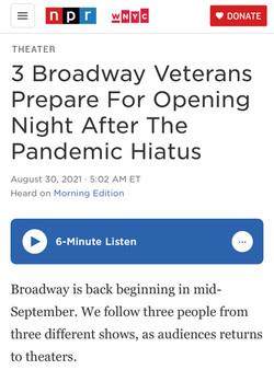 """Return to Broadway"" - NPR's Morning Edition"