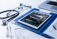 stethoscope, ipad, laptop