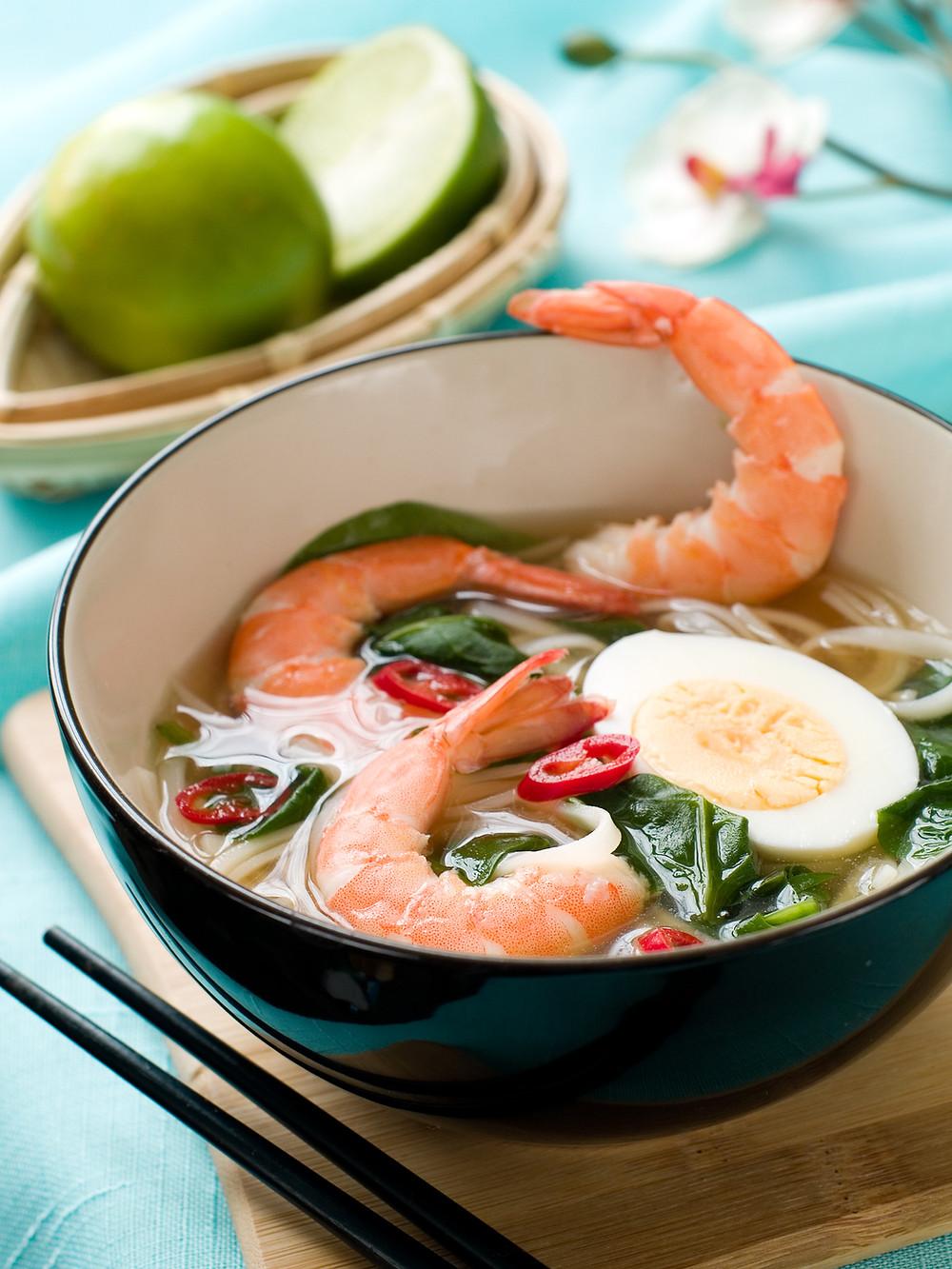 Asian shrimp and watercress soup