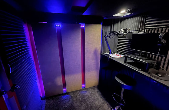 Vocal booth with acoustic treatment