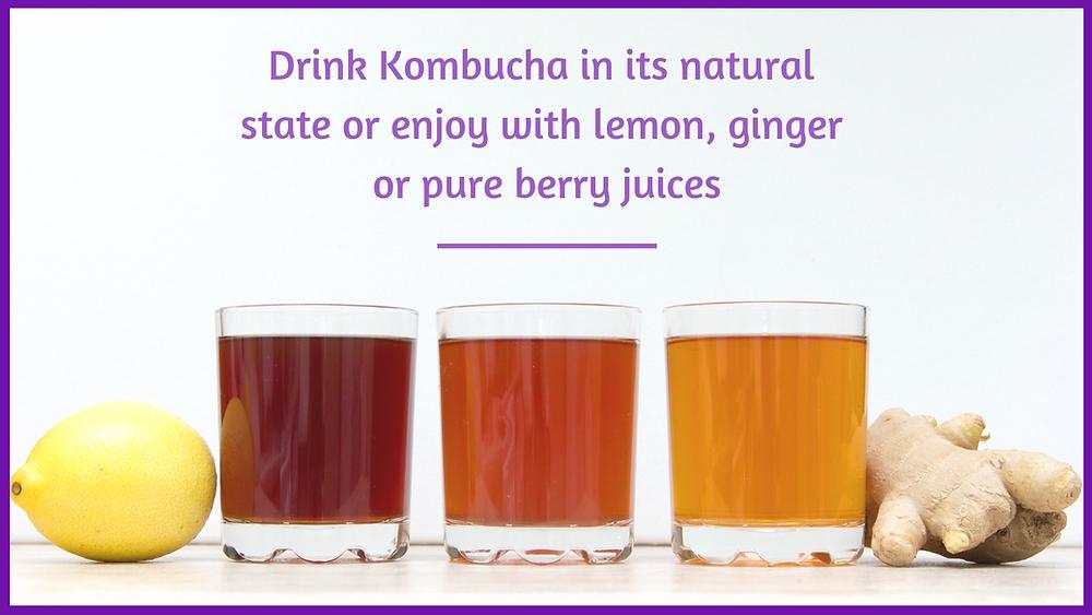 Kombucha, lemon and ginger