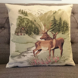 Woven Alpine tapestry cushion