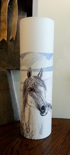 Hand-painted horse lamp