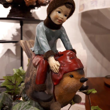 Christmas elf and robin
