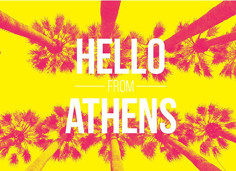 ancient greece, inspirational quote, design, postcard, souvenir, urban, vacation, Greece, palmtrees