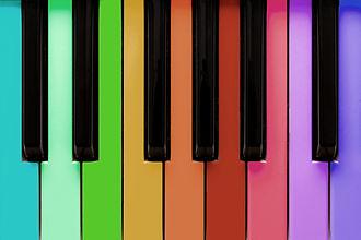 Piano with rainbow colored keys