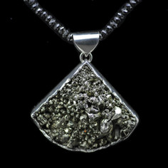 pyrite, fine silver & black spinel