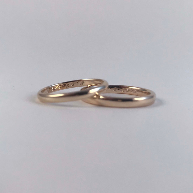 engraved gold wedding bands