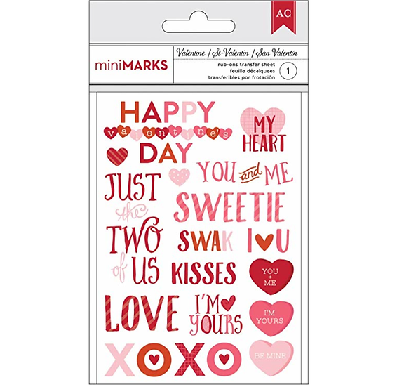 American crafts valentines rub-ons phrase
